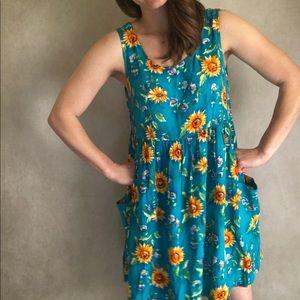 🌻 Vintage 90s Sunflower Midi Babydoll Dress